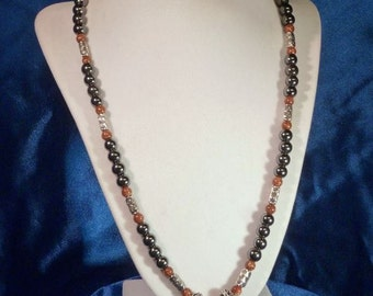 Necklace - Silver-Mounted Copper Goldstone Cabochon