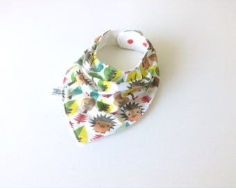 Baby bandana bib. Knit fabric with hedgehogs. Scarf bib, baby shower gift, unisex baby bib, drool bib, bibdana. Ready to ship