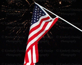 Fine Art American Flag Photograph {Firework Photo, Patriotic Photography, America Print, Americana, United States, USA Canvas, Independence}