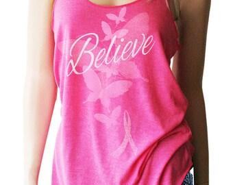 Believe with Butterflies Breast Cancer Shirt. Breast Cancer Awareness. Breast Cancer Tank. Breast Cancer Pink Ribbon Shirt.