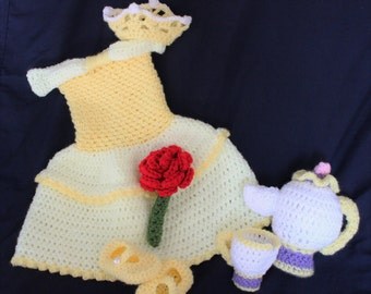 Crochet Princess Belle Costume - Beauty and the Beast Inspired - Mrs. Potts and Teacup Accessories - Disney Princess Baby Photo Prop