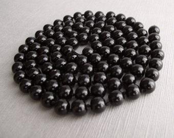 Glossy Black Glass Bead String - Recycle - B-10BLK50-07-D
