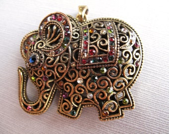 Brass and Rhinestone Elephant Pendant, Sweet Ellie Necklace Focal 55x45mm (1) - Recycle - CB-52VPSB-293