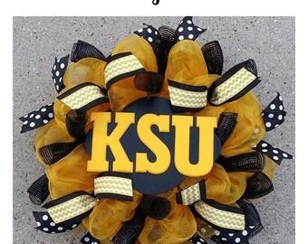 Custom Collegiate Wreath in Your School Colors,KSU Wreath,Kennesaw State,Football Deco Mesh Wreath,Black and Gold,Front Door Wreath Initial