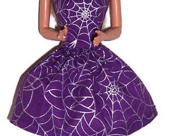 Fashion Doll Clothes-Purple/Silver Spiderweb Print Strapless Party Dress