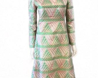 Vintage 1960's Mollie Parnis Brocade Metallic Evening Gown/Hostess Dress