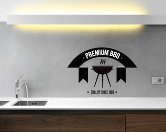 Premium BBQ Quality Since 1998 Bbq Wall Decal - Vinyl Decal - Car Decal - Id016