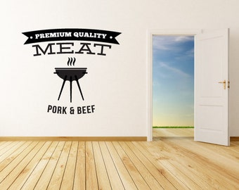Premium Quality Meat Pork & Beef Bbq Wall Decal - Vinyl Decal - Car Decal - Id021