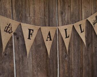 It's Fall Y'all Burlap Banner-Farmhouse Fall Burlap Banner-Thanksgiving Banner-Fall Banner-Halloween Banner-Fall Decor-Autumn Decor