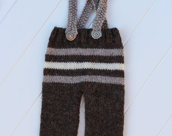 Handknitted Overalls- photography prop-6-12 month- READY TO SHIP
