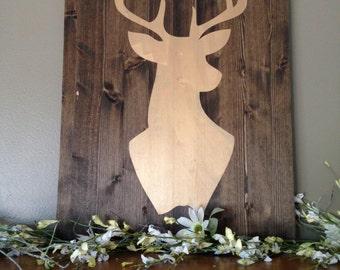 Deer Sign, Large Pallet Sign, Deer Silhouett, Gold Deer Sign, Hunting Sign, Antler Sign, Hunter Art, Oh Deer Sign, Hunting Decor, Subway Art