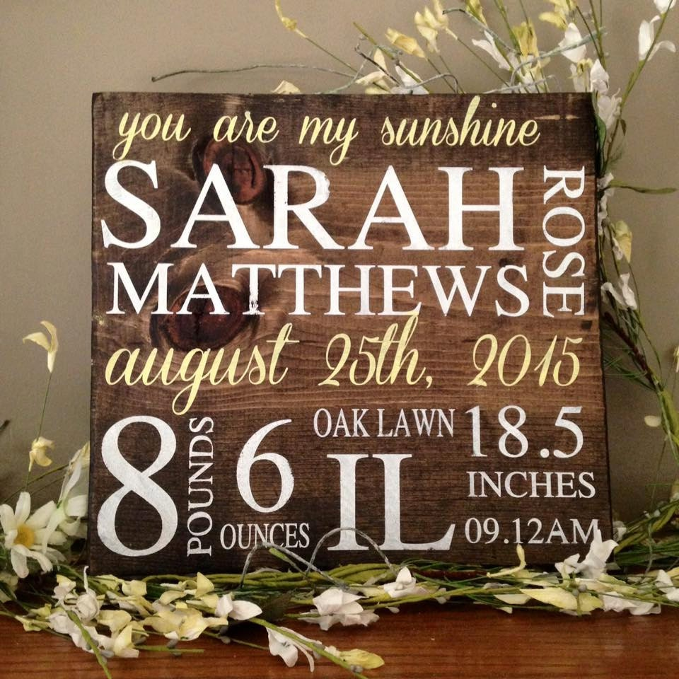 Birth Announcement Sign Wood Sign Birth Announcement Baby