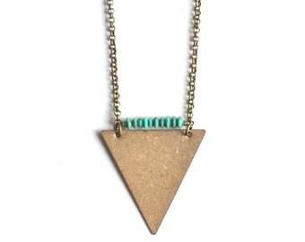 Turquoise Antique Brass Triangle Pendant Necklace // Boho Geometric Long Necklace