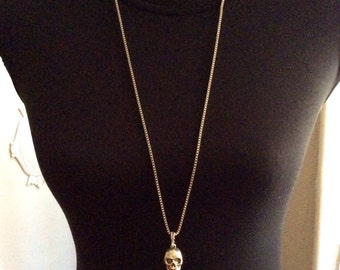 Stainless steel and silver plated brass necklace SKULL by KREATURE bijoux