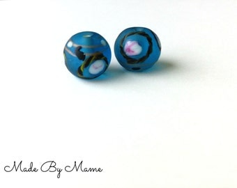 Lampwork Glass Handmade Beads, Set of 2 Beads, Pair of Vintage Salvaged Glass Beads, Destash Supplies, Blue Floral Beads, 14mm Round Bead