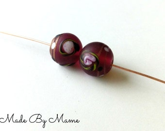 Maroon Floral Lampwork Glass Beads, Handmade Frosted Painted Glass Beads, Set of Two, Focal Bead Pair, Salvaged, Eco Friendly, Destash Beads