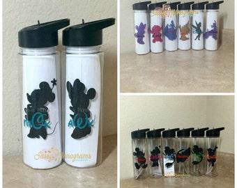 SIX Personalized Disney Glitter 24oz Water Bottles  W24DG6