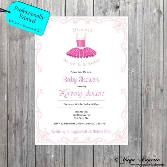 baby shower invitation ballerina theme invitation tutu cute shower