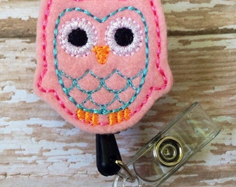 Owl retractable badge reel, Owl felt badge reel, Owl retractable badge reel, Owl id badge reel, Owl badge reel, christmas gift, pink owl