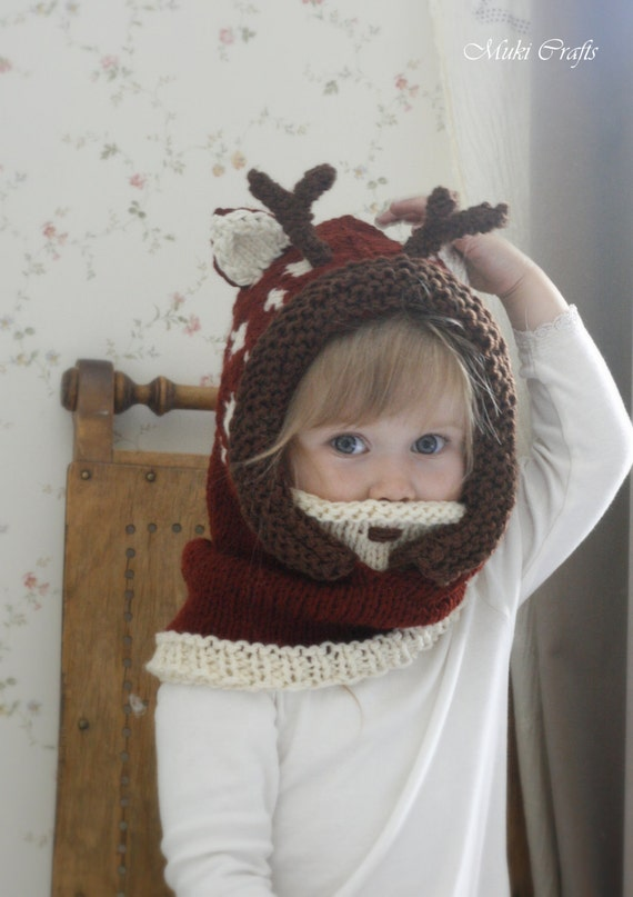 KNITTING PATTERN hooded cowl deer fawn Bämbi with antlers (baby, toddler, child, adult sizes)