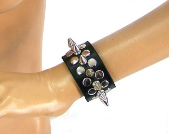 Half Metal Punk Spiked Leather Wristband