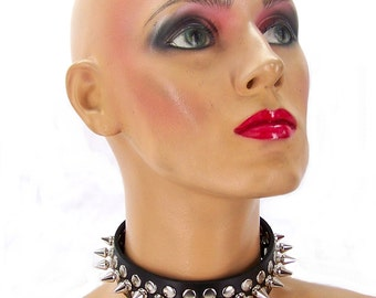 1/2 Metal Punk Spiked Leather Choker
