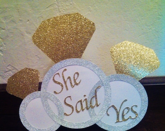 White and Gold, BRIDAL SHOWER, or, She Said Yes, Door Sign or Stand Up Table Sign, Gold Bridal Shower Decorations, Table Decoration