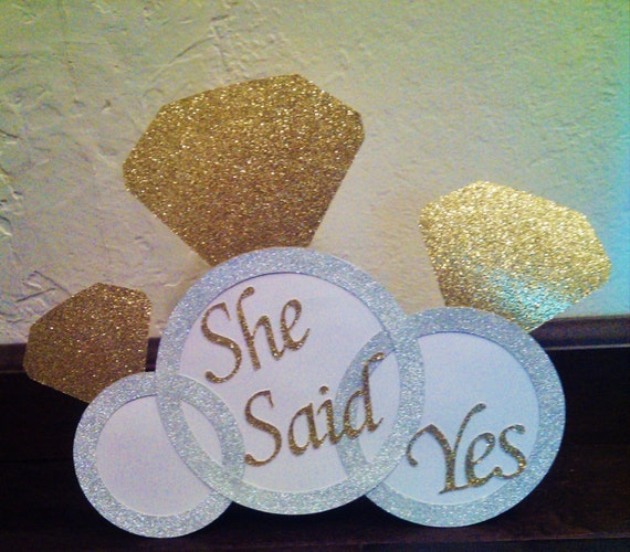 White and gold bridal shower or she said yes door sign or for Yes decoration