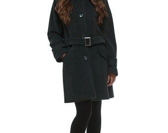 Grey wool and cashmere womens trench coat / womens winter coat / cashmere coat / womens wool coat