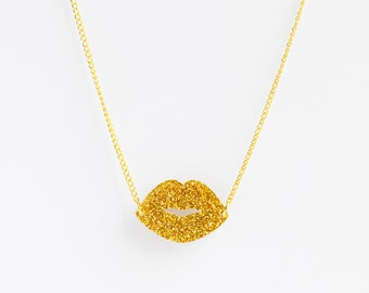 Laser cut acrylic sparkly metallic gold lip kiss charm pendant necklace