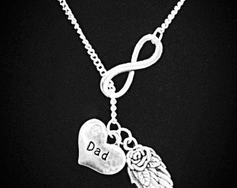 Angel Dad Necklace, Infinity My Dad Father Daddy Love In Memory Of Heaven Angel Wing Y Lariat Necklace