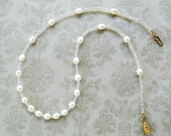 White Pearl Necklace, Pearl Jewelry, Crystal Necklace, Crystal Jewelry, Bridal Necklace, Bridal Jewelry, Wedding Jewelry, White Jewelry