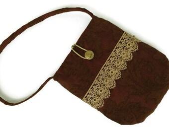 Brown handbag, Lace handbag, Hand bag brown, Purse small, Evening purse, Evening bag, Pocketbook lace, Special occasion bag