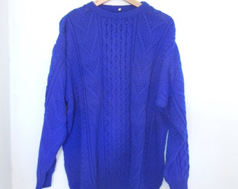 80s Sweater, Oversized Sweater, Oversized Jumper, Blue Sweater, Plus Size Clothing, Wool Sweater, Hipster Sweater, Grunge Sweater