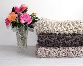 Knit Baby Blanket Prop Newborn Car Seat Oatmeal- Daisy Blanket