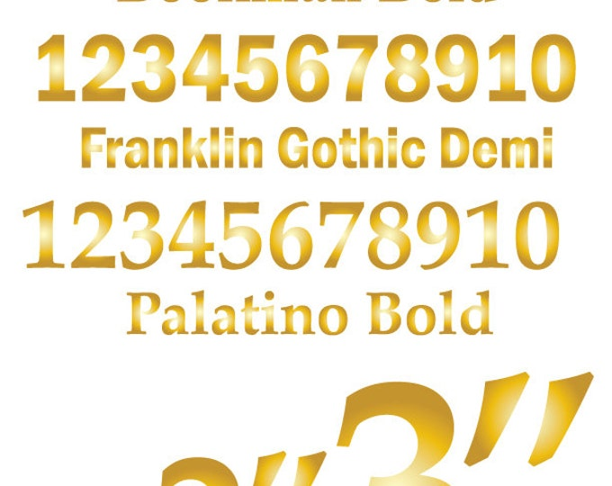 Wedding Table Number Stickers | Table Numbers | Custom Stickers in Gold or Silver | Numbers 1-10 Serif or San Serif