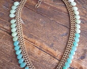 Vintage Gold Jadeite Teal Necklace Robin's Egg Blue