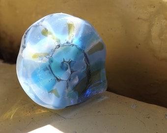 Nautilus , fused glass ring