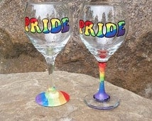 Gay Pride hand-painted rainbow wine glass (price is for ONE glass)