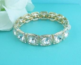 Gold Rhinestone Bridal bracelet, wedding bracelet, gold rhinestone crystal bracelet, crystal bracelet, bridal jewelry, bracelet 248078814