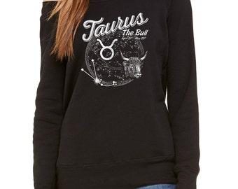 Vintage Taurus Scoop Neck Sweatshirt - Occult Horoscope Zodiac - Off the Shoulder