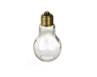 "Light Bulb Glass Novelty Jar with Gold Lid 4 1/4"" 110 ml Graduation gift idea"
