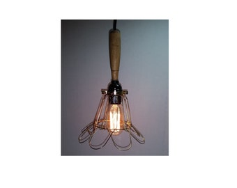 Industrial Style Pendant Light Wood Handle and Cage 11' cord & plug See Options Can Customize