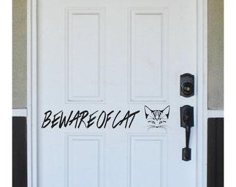 Front Door Decal - BEWARE OF CAT