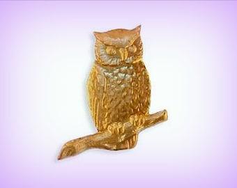 Brass Stamping Owl on Branch (1) Raw Brass AMERICAN Made ~