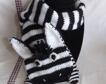Animal Scarf - Knitted Zebra Scarf - Knitted Scarf - Knitted Zebra - Toddler Scarf