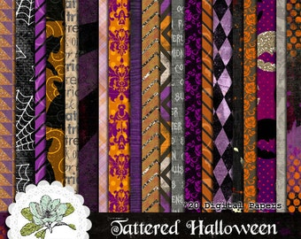 Tattered Halloween - Digital Scrapbook Paper Pack