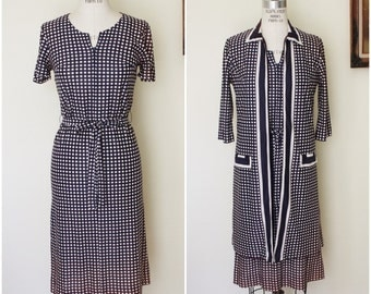 Vintage 1960s Cay Artley Dress and Jacket / 60s Polkadot Dress / Polka Dot Dress / Dress With Belt / Matching Coat