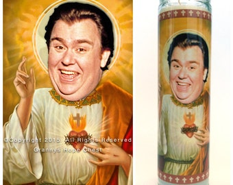 """John Candy Prayer candle. Saint Candy! Great gift! Premium Handmade 9"""" Soy Candle!"""