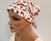 Sandra Pre-Tied Scarf - Heels - A Women's Surgical Scrub Cap, Cancer, Chemo, Alopecia, Hat, Head Cover Fitted Scarf for women.
